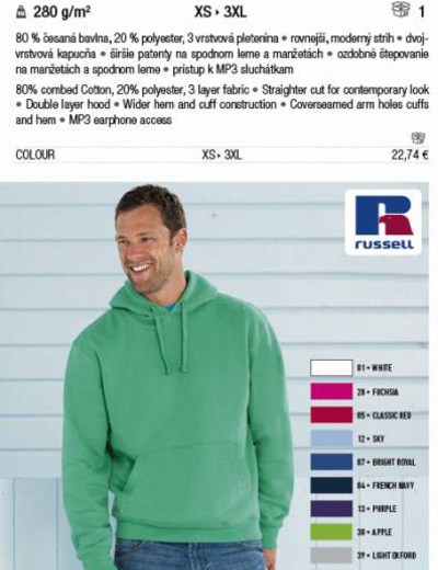 265M•ADULTS' AUTHENTIC HOODED SWEAT