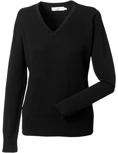 710F•LADIES V NECK KNITTED PULLOVER, 2XL, black (03)