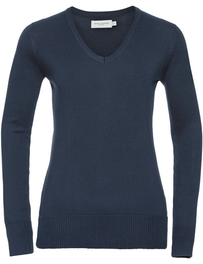 710F•LADIES V NECK KNITTED PULLOVER, 2XL, french navy (04)