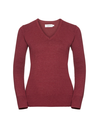 710F•LADIES V NECK KNITTED PULLOVER, 2XL, cranberry marl (08)