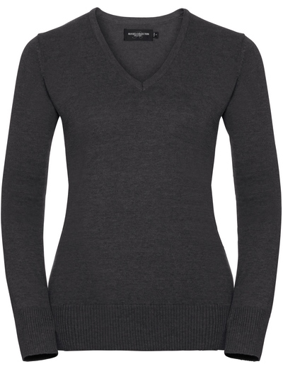 710F•LADIES V NECK KNITTED PULLOVER, 2XL, charcoal marl (16)