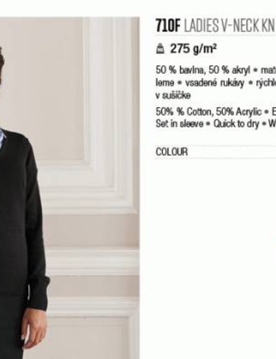 710F•LADIES V NECK KNITTED PULLOVER