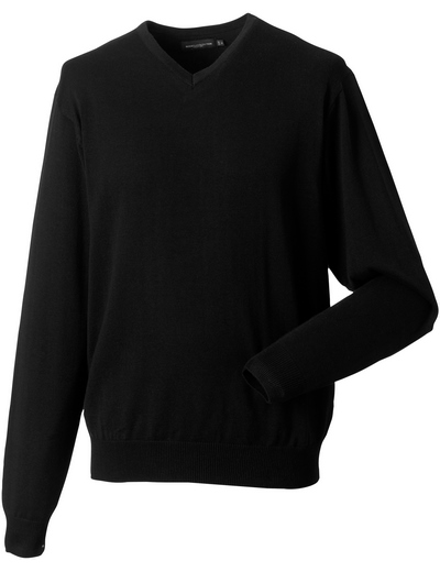 710M•MENS V NECK KNITTED PULLOVER, 2XL, black (03)