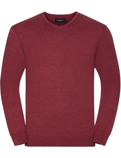 710M•MENS V NECK KNITTED PULLOVER, 2XL, cranberry marl (08)