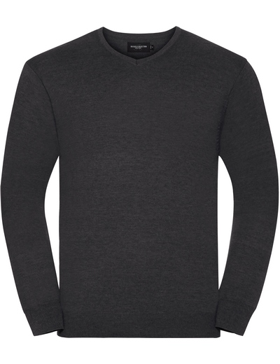 710M•MENS V NECK KNITTED PULLOVER, 2XL, charcoal marl (16)
