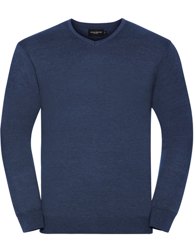 710M•MENS V NECK KNITTED PULLOVER, 2XL, denim marl (19)