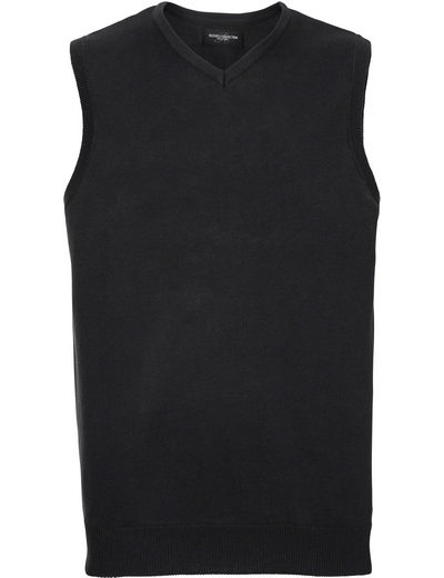 716M•MENS V NECK KNITTED SLEEVELESS PULLOVER, 2XL, black (03)