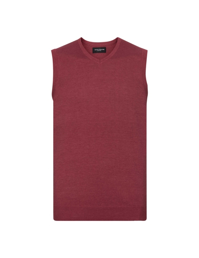 716M•MENS V NECK KNITTED SLEEVELESS PULLOVER, 2XL, cranberry marl (08)
