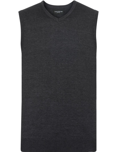 716M•MENS V NECK KNITTED SLEEVELESS PULLOVER, 2XL, charcoal marl (16)