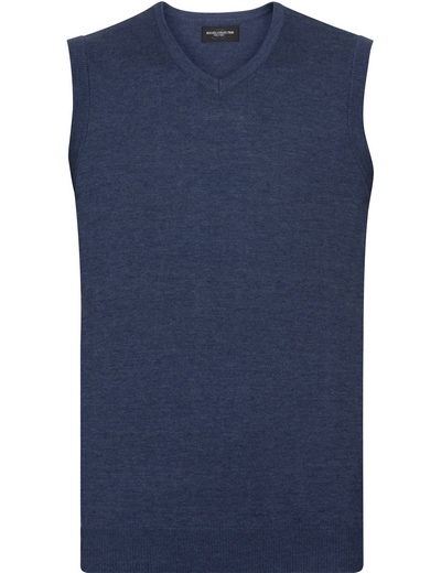 716M•MENS V NECK KNITTED SLEEVELESS PULLOVER, 2XL, denim marl (19)