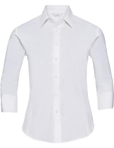 946F•LADIES STRETCH SHIRT 3/4SLEEVE, 2XL, white (01)