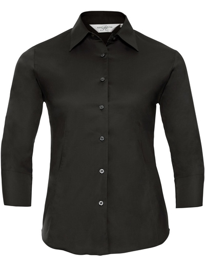 946F•LADIES' L/S EASY CARE FITTED SHIRT, 2XL, black (03)