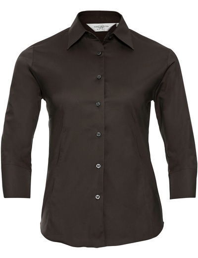946F•LADIES' L/S EASY CARE FITTED SHIRT, 2XL, chocolate (32)