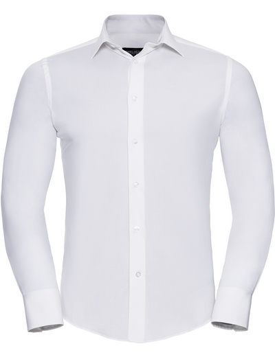 946M•MEN FITTED STRETCH SHIRT LSL, 2XL, white (01)