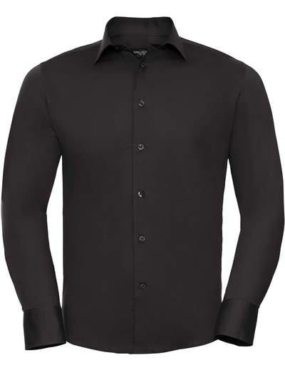 946M•MEN'S L/S EASY CARE FITTED SHIRT, 2XL, black (03)