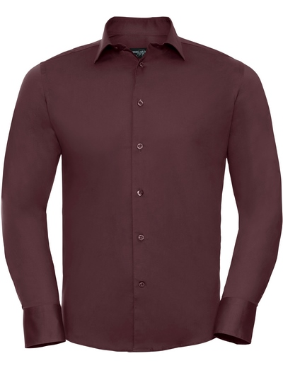 946M•MENS LONG SLEEVE EASY CARE FITTED SHIRT, 2XL, port (08)