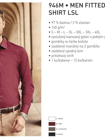 946M•MEN FITTED STRETCH SHIRT LSL
