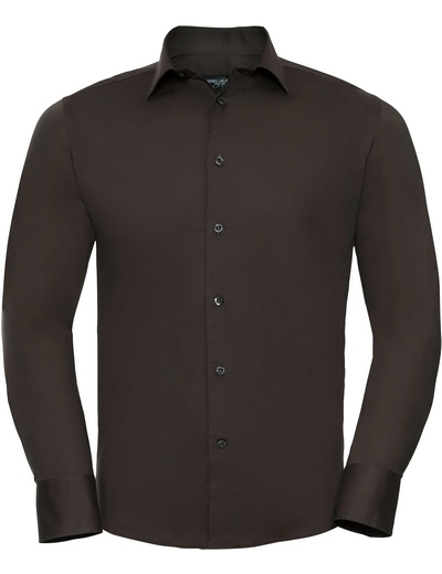 946M•MEN'S L/S EASY CARE FITTED SHIRT, 2XL, chocolate (32)