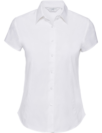 947F•LADIES SHORT SLEEVE EASY CARE FITTED SHIRT, 2XL, white (01)