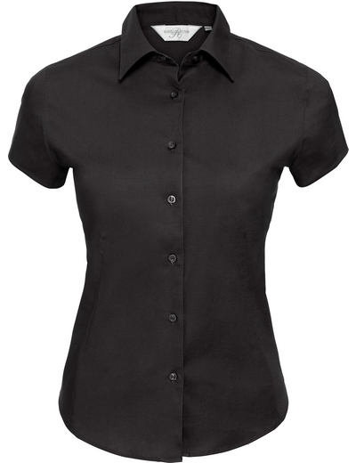 947F•LADIES' S/S EASY CARE FITTED SHIRT, 2XL, black (03)