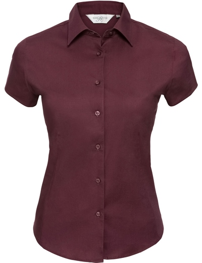 947F•LADIES SHORT SLEEVE EASY CARE FITTED SHIRT, 2XL, port (08)