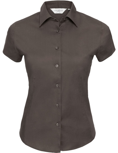 947F•LADIES SHORT SLEEVE EASY CARE FITTED SHIRT, 2XL, chocolate (32)