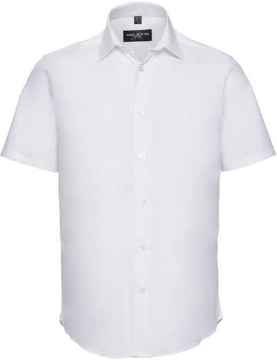947M•MEN FITTED STRETCH SHIRT SSL, 2XL, white (01)