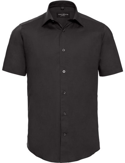 947M•MEN'S S/S EASY CARE FITTED SHIRT, 2XL, black (03)