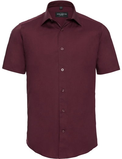 947M•MEN FITTED STRETCH SHIRT SSL, 2XL, port (08)