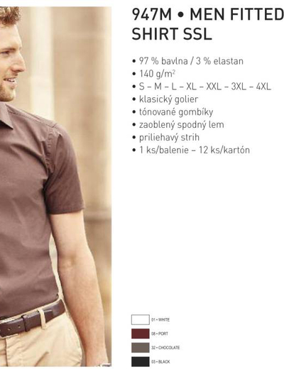947M•MEN FITTED STRETCH SHIRT SSL