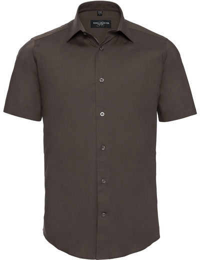 947M•MEN'S S/S EASY CARE FITTED SHIRT, 2XL, chocolate (32)