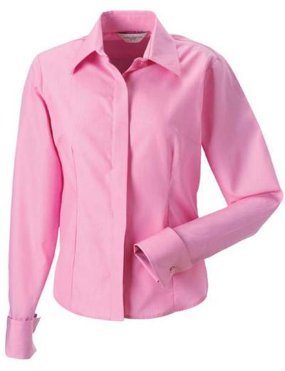 952F•LADIES´L.SL TENCEL CORPORATE SHIRT, L, OUT-br. pink (25)