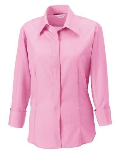 953F•LADIES ? SLEEVE TENCEL CORPORATE SHIRT, S, OUT-br. pink (25)
